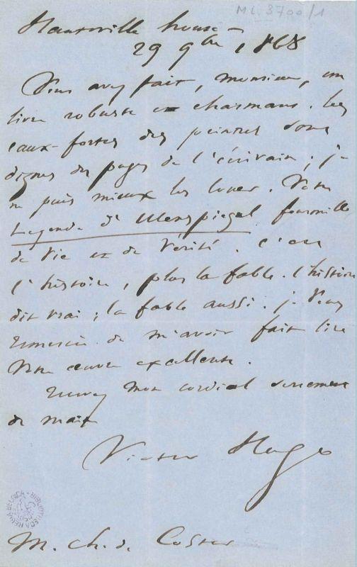 Lettre de Victor Hugo à Charles De Coster